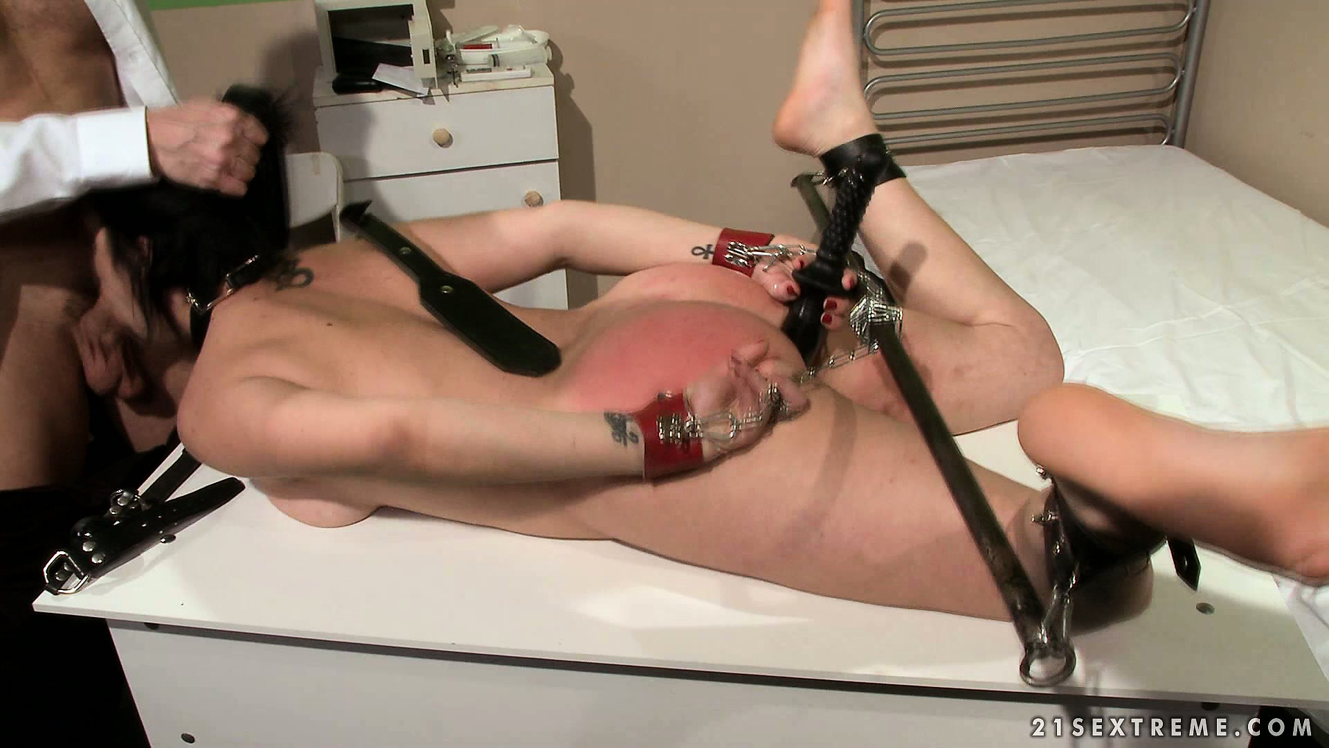Porn Tube of She's Tied Up And Gagged And Gets Her Ass Whacked Before She Blows