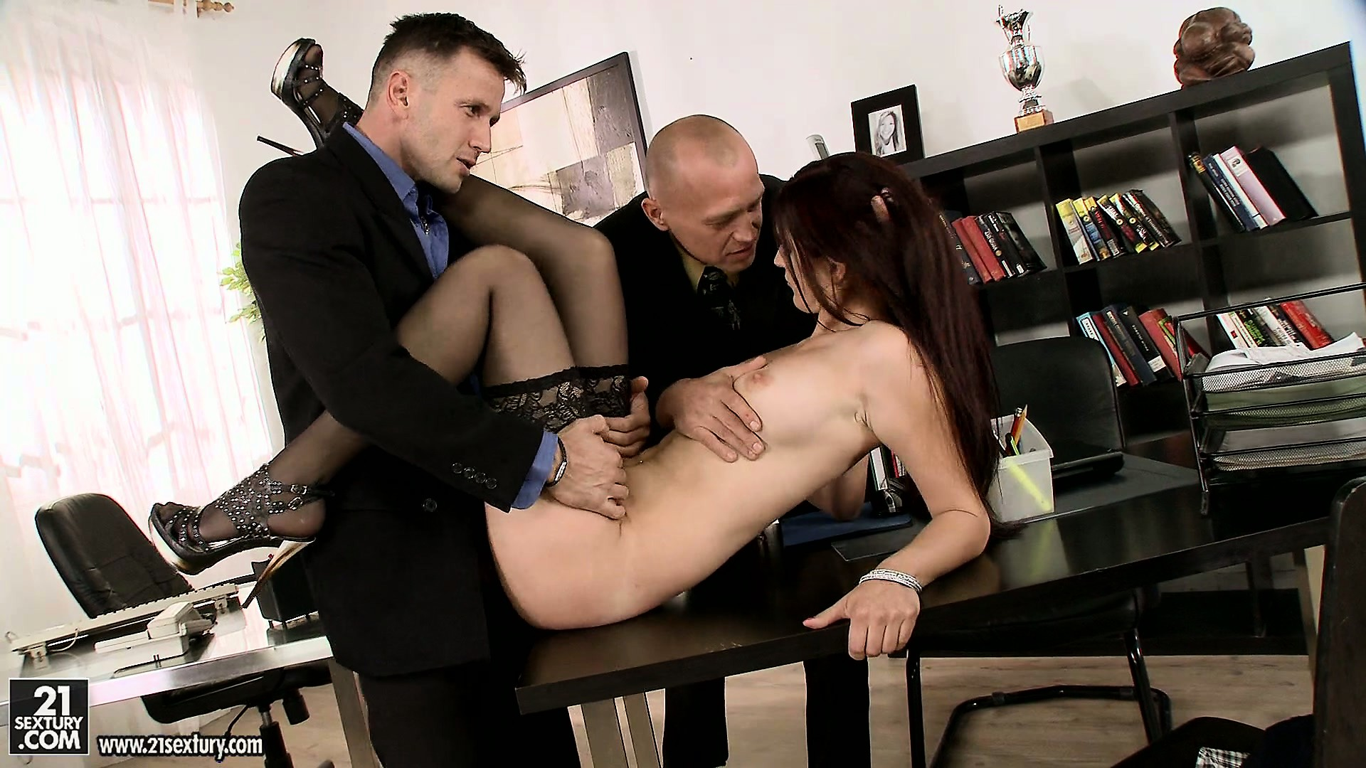 Porno Video of Skinny Brunette Broad Gets Fucked By Her Two Bosses In The Office