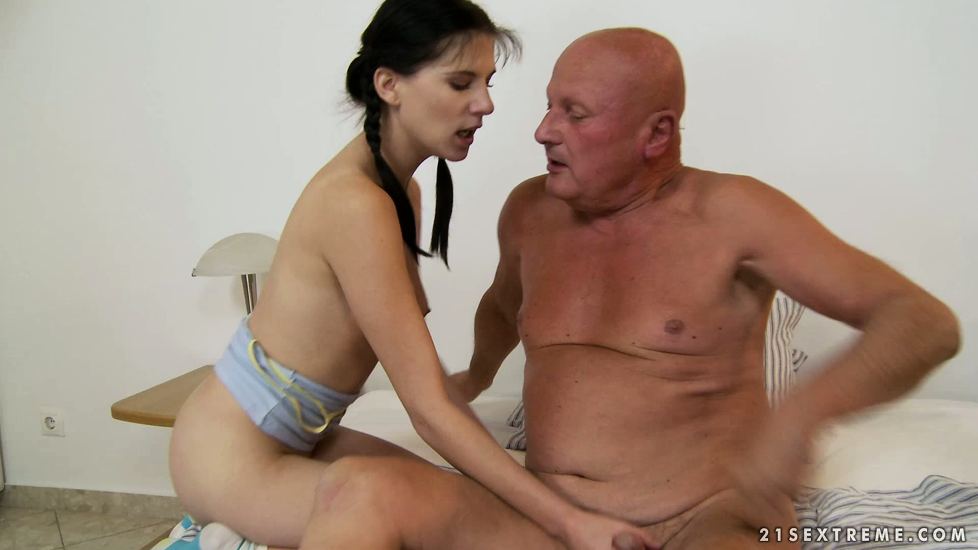 Porno Video of Naughty Young Brunette In Pigtails Sucks And Fucks Bald Old Man