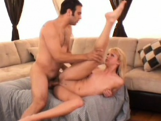 sexy slim young blonde with tiny tits blows a big dick and takes it deep in her twat