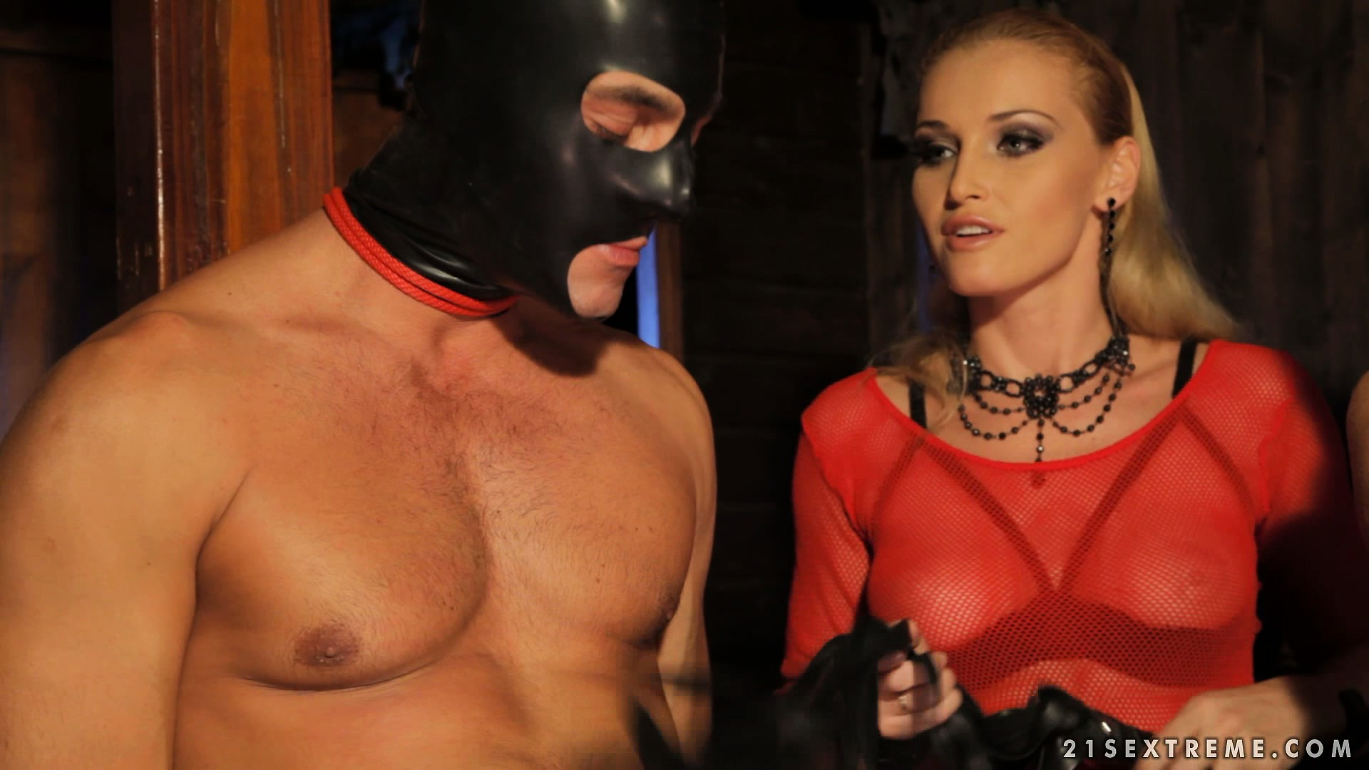 Porn Tube of Mistress Has Her Masked Slaves Perform For Her As She Watches