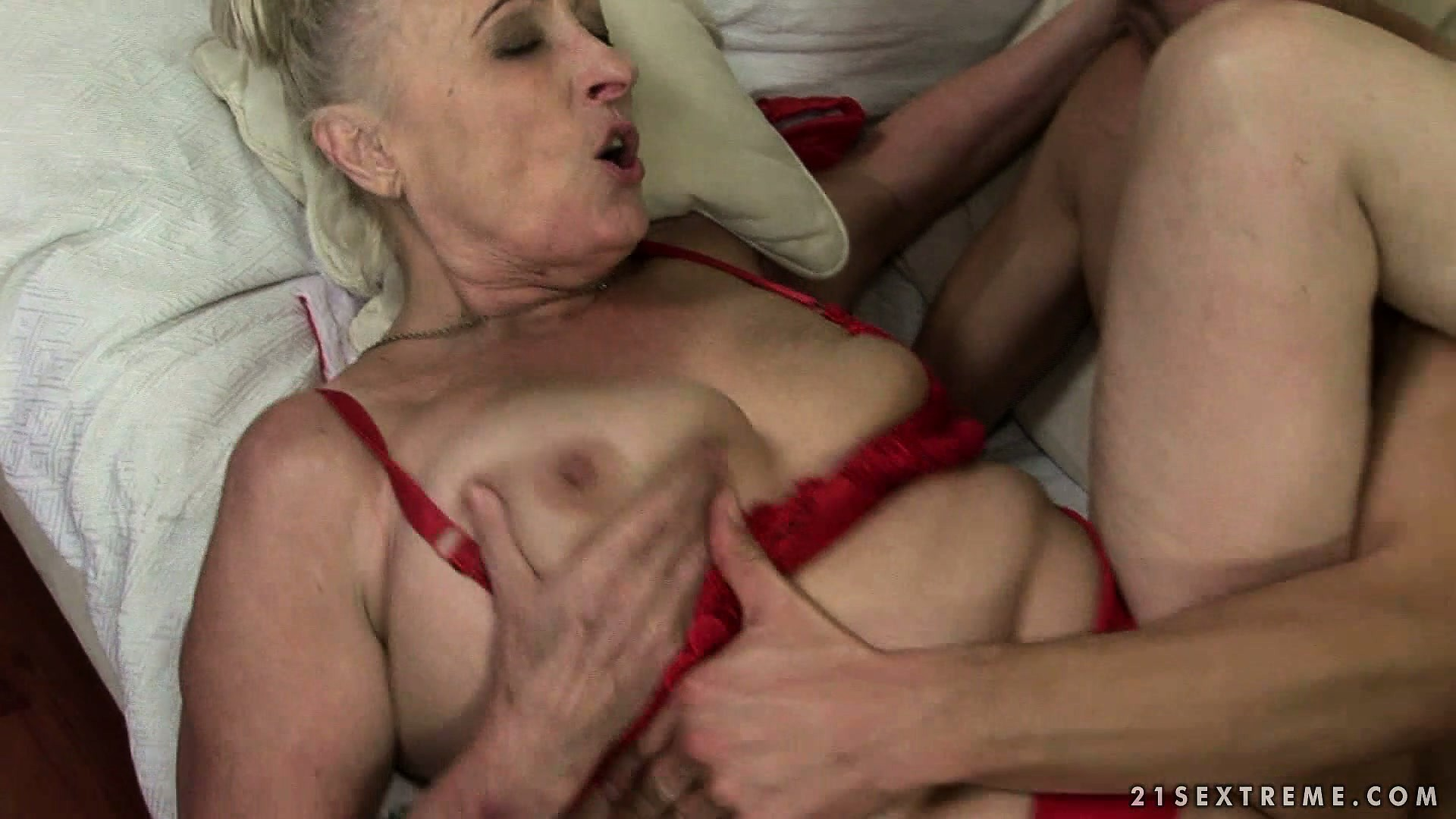 Porno Video of Raunchy Fat Granny In Red Lingerie Gets Her Cunt Worked Out Well
