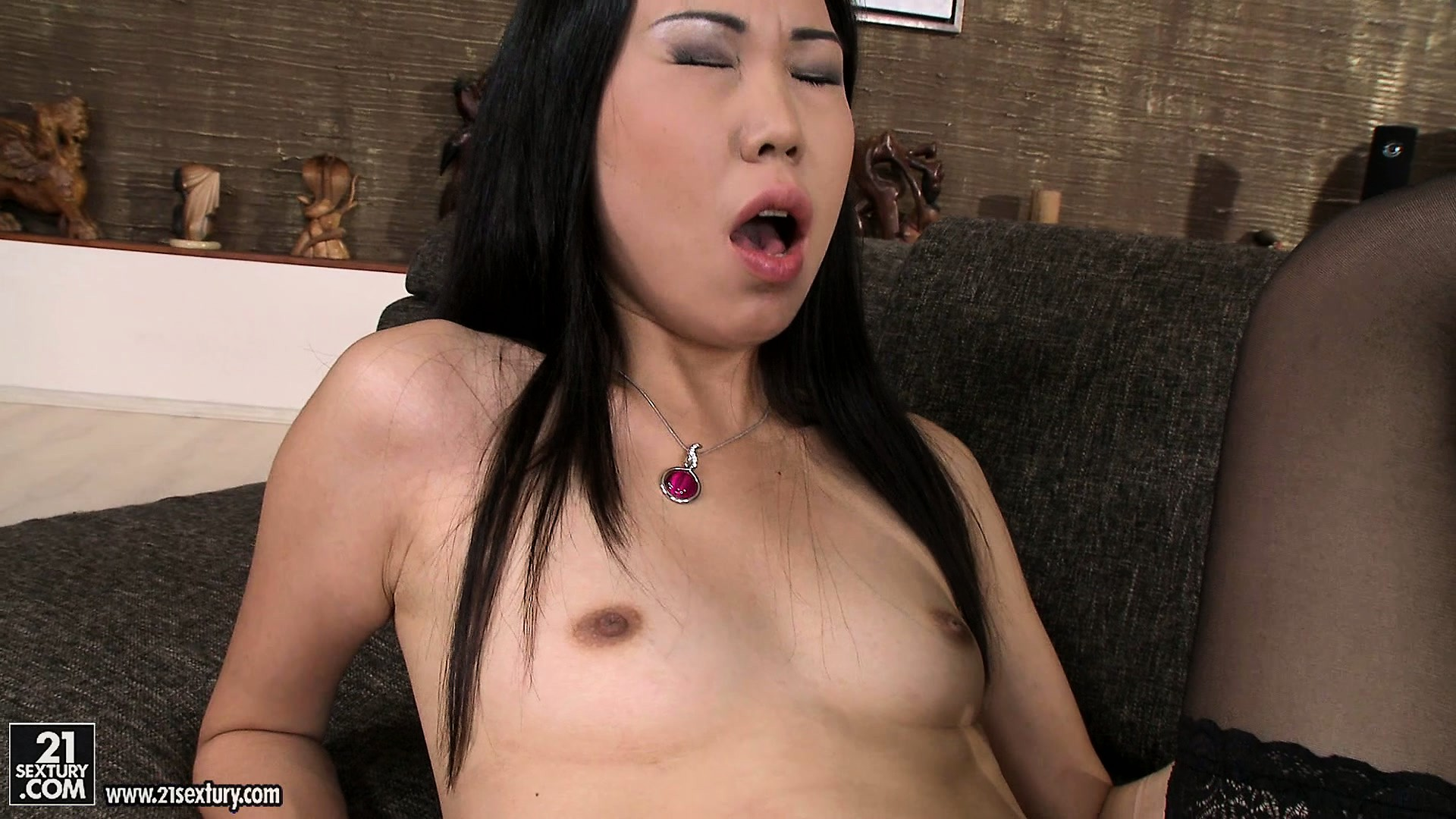 Porn Tube of Petite Brunette Skank Gets Dildo Fucked By Her Asian Girlfriend