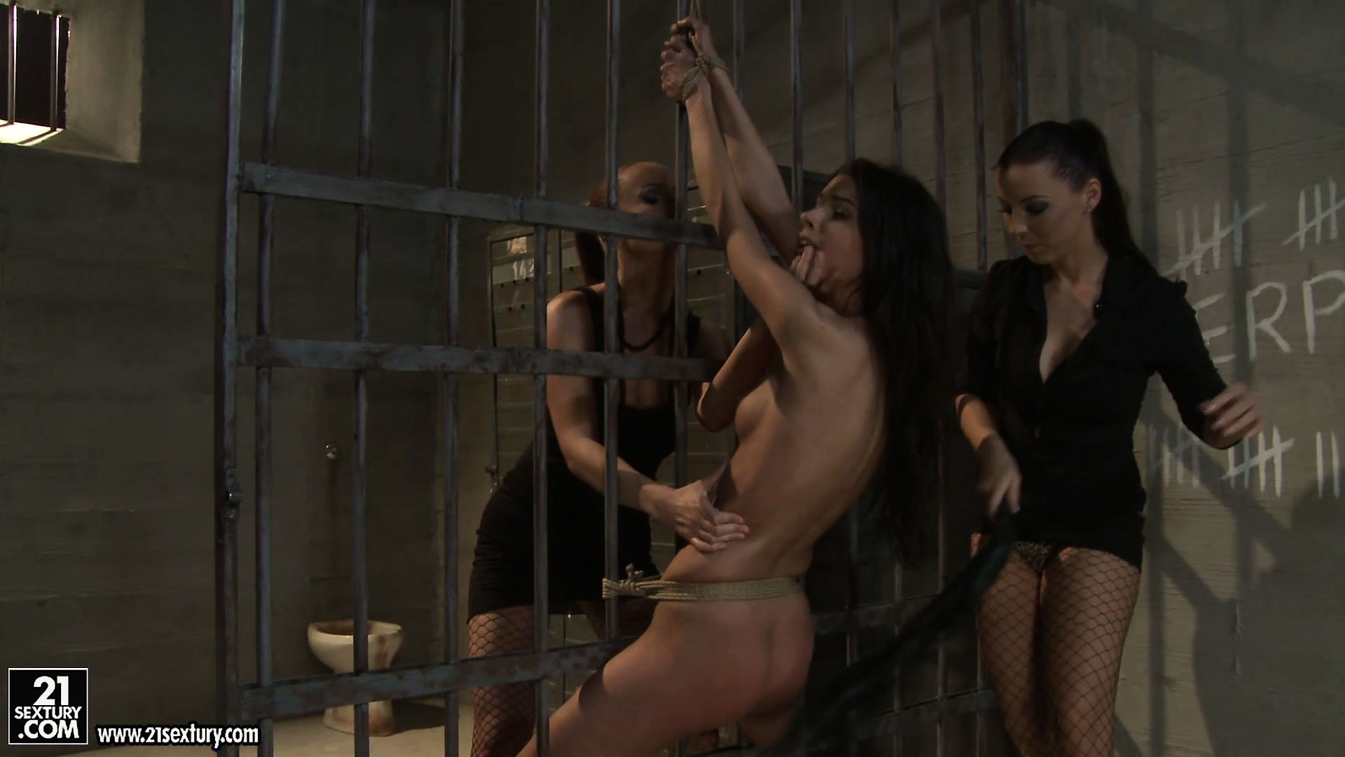 Porn Tube of She's Naked And Tied To The Bars And Gets Clothespin Tortured