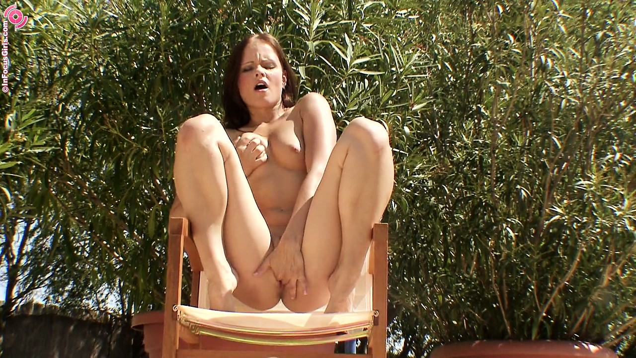 Porn Tube of Brunette Babe In Booty Shorts Gets Naked And Masturbates Outdoors