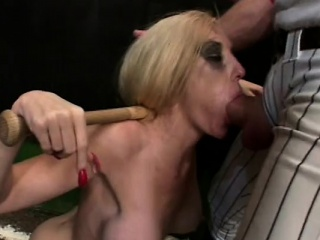 skinny blonde bitch with massive tits gets tied up and face fucked
