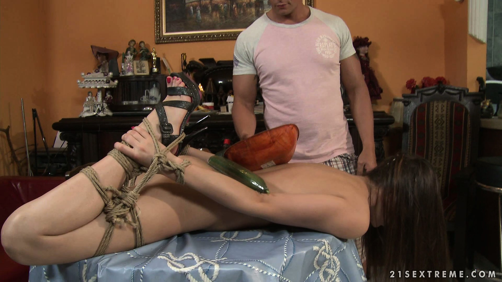 Porn Tube of Chick Gets Tied Up And Fucked With A Cucumber By A Pizza Guy