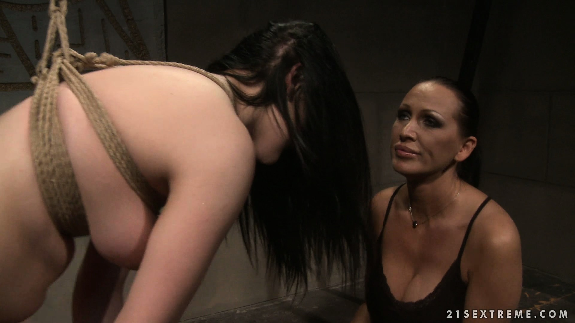 Porno Video of Naughty Brunette Slave Is Tied Up And Bent Over And At The Mistress' Mercy
