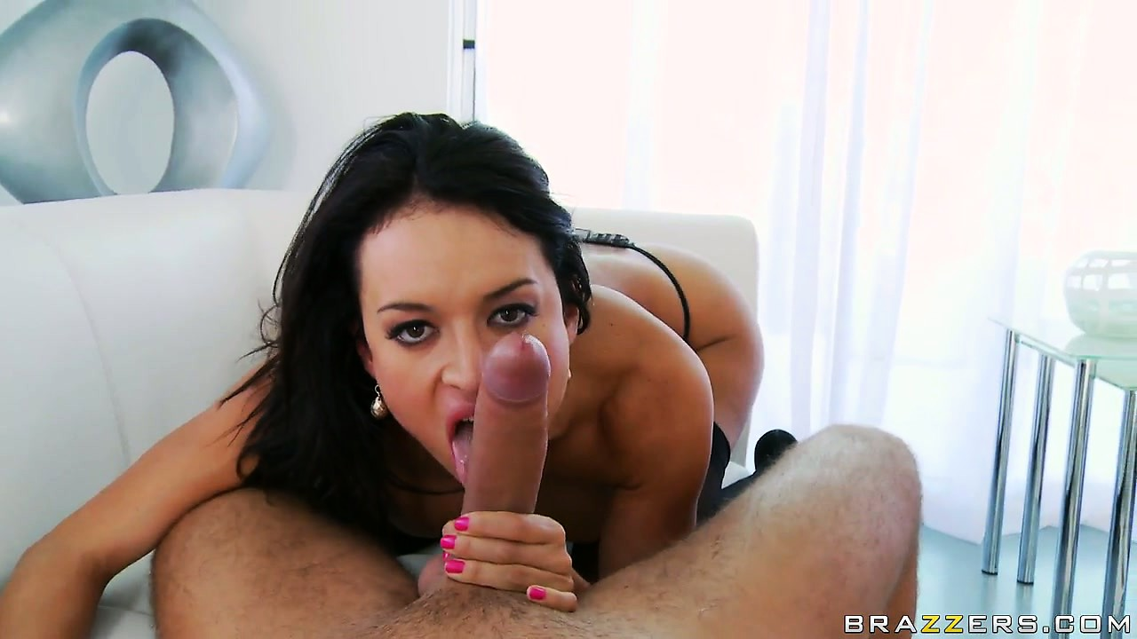 Porn Tube of Hot Busty Brunette Babe Eagerly Takes His Cock Down Her Throat