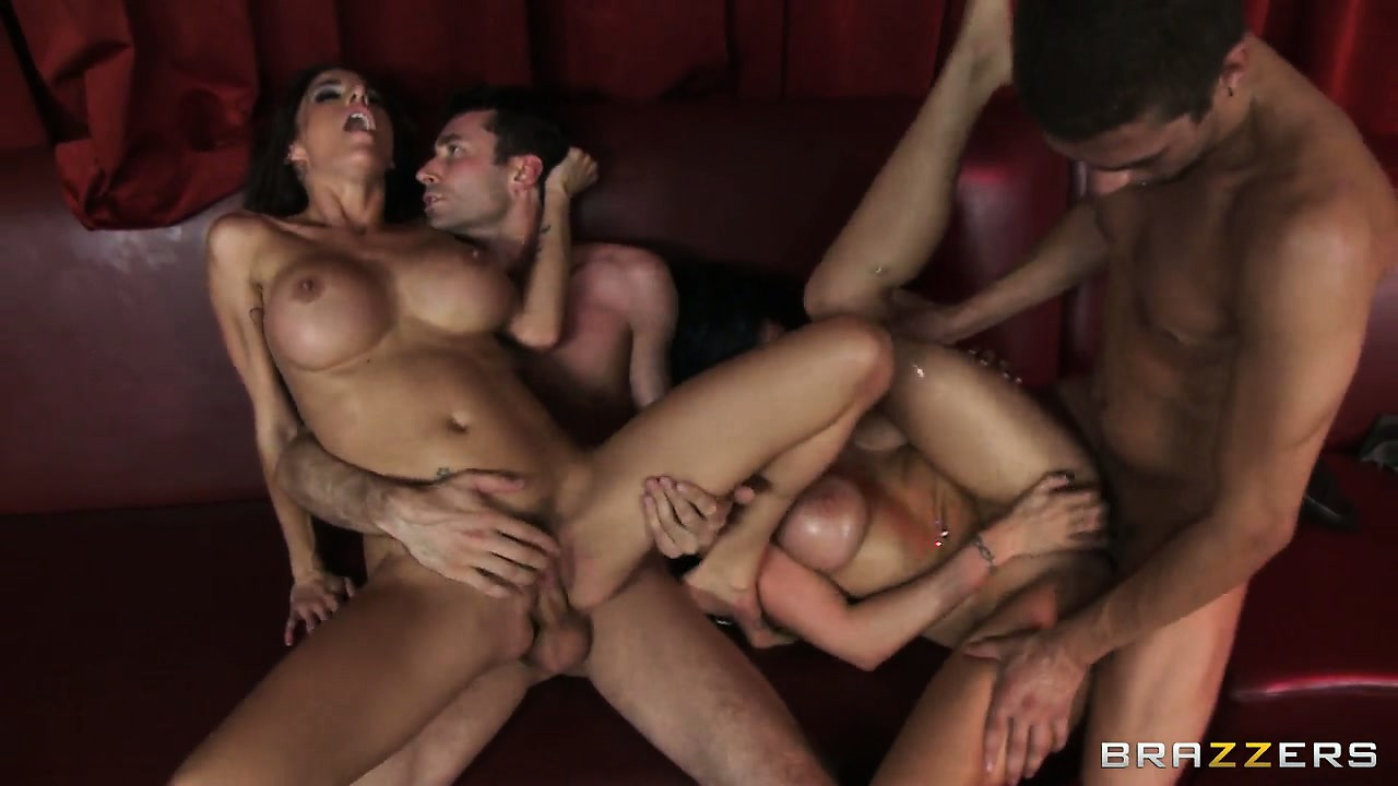 Porno Video of Hot Foursome Action With Big Tits Brunette Duo And Two Raging Boners