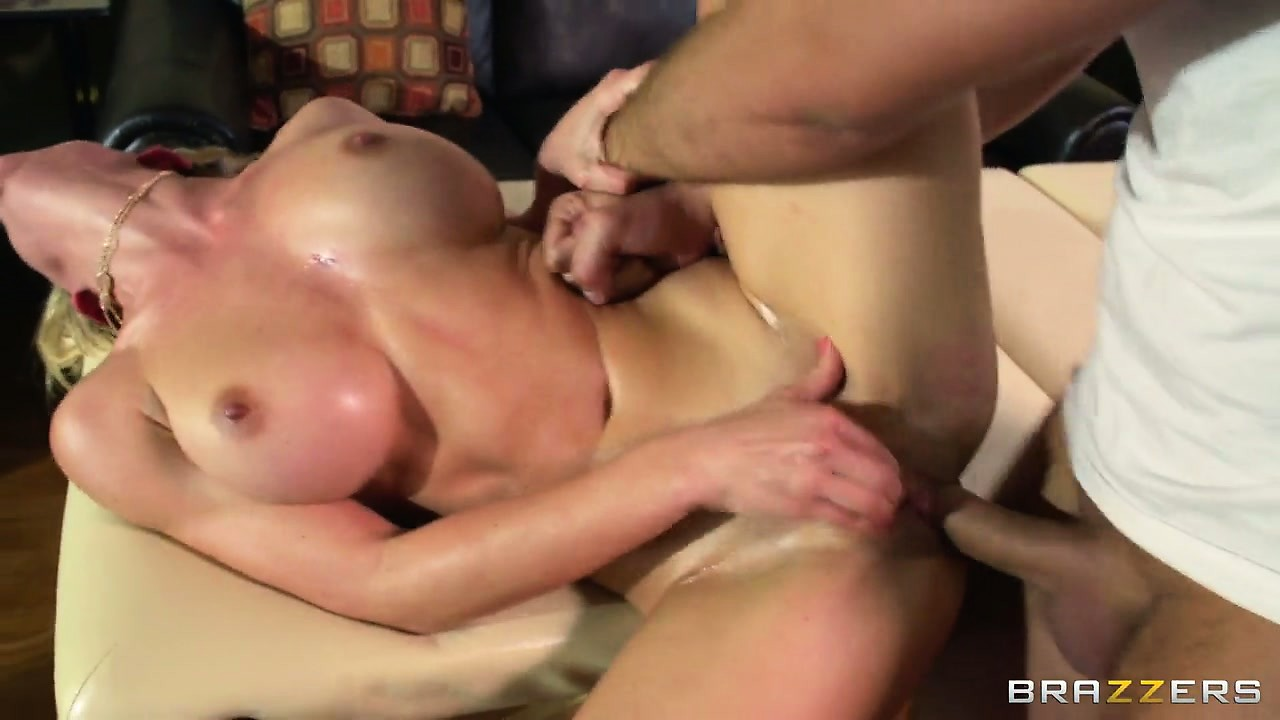 Porno Video of Oily Blonde Gets Her Clit Stimulated And Pussy Fucked Sideways