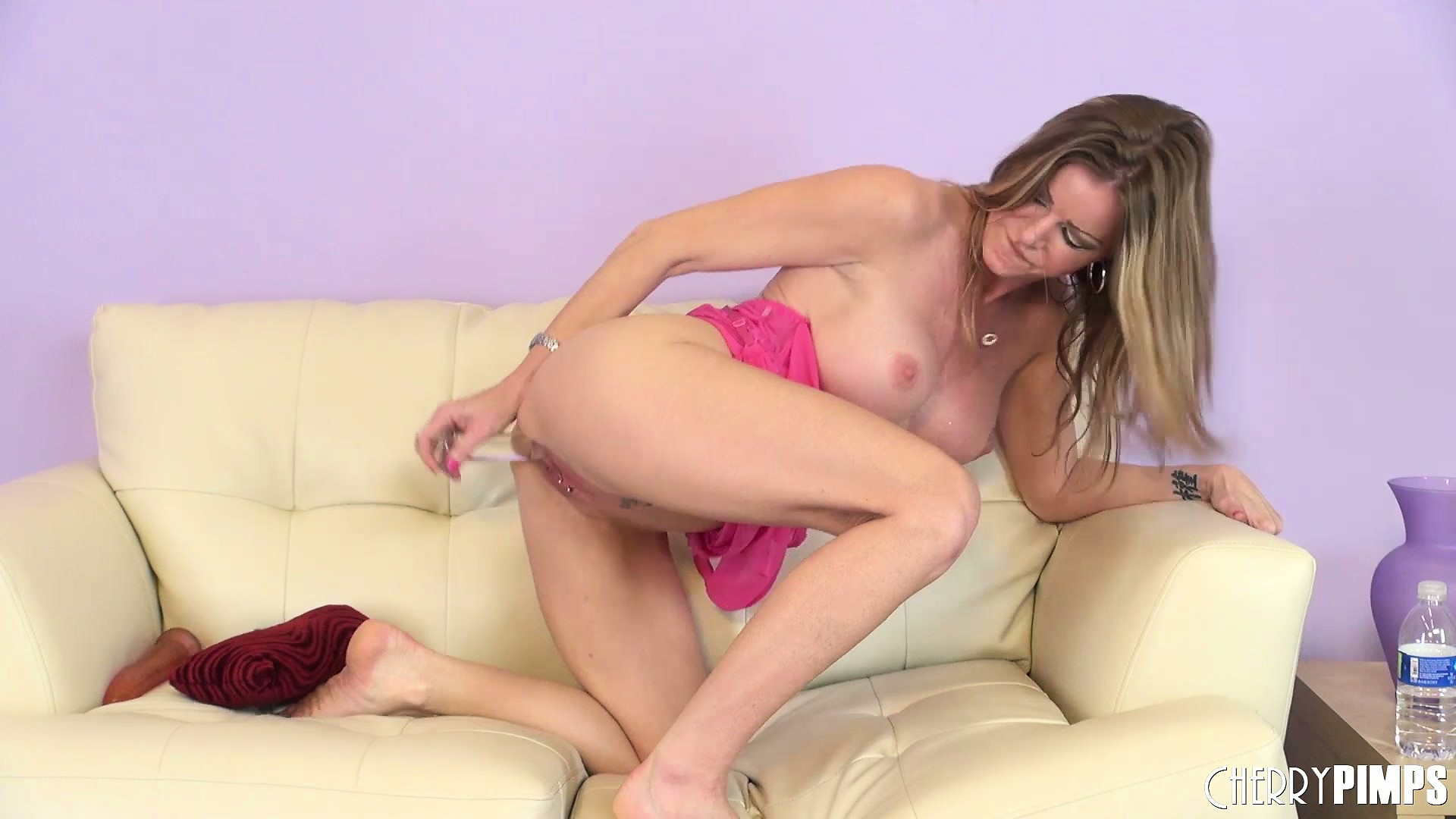 Porn Tube of Amber Fingers Her Clit And Then Sticks Her Dildo In Her Wet Cunt