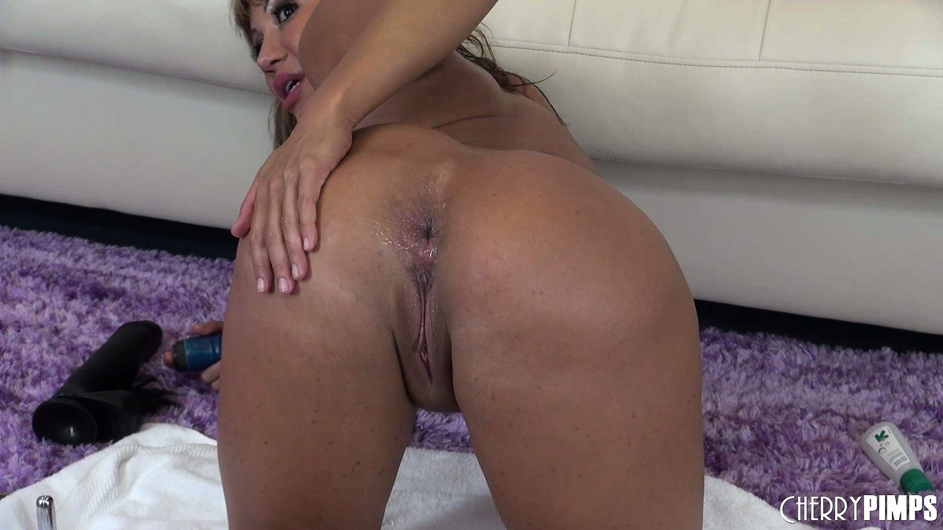Porno Video of She Toys, Butt Out, And Jams Two Toys In Each Hole Showing Her Ass Again