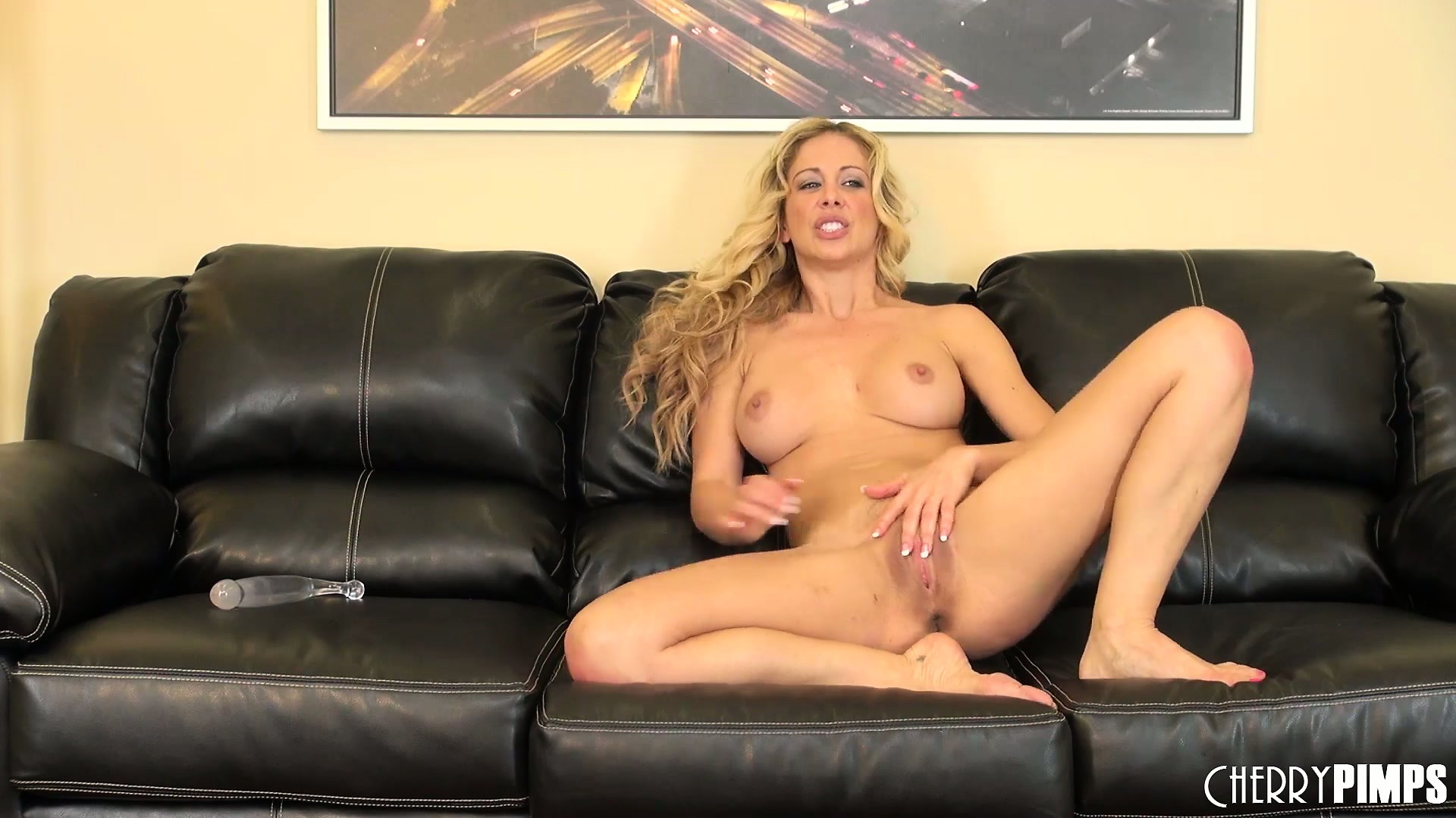 Porno Video of After Cherie Deville Gets The Dildo Nice And Wet, She Slips In In Her Snatch