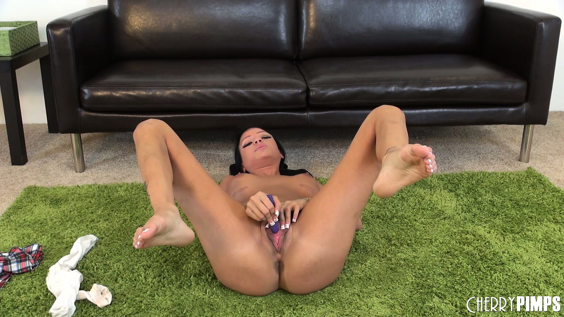 Porn Tube of Little Brunette Raven Bay Lies On The Floor And Goes Gaga Over Her Clit