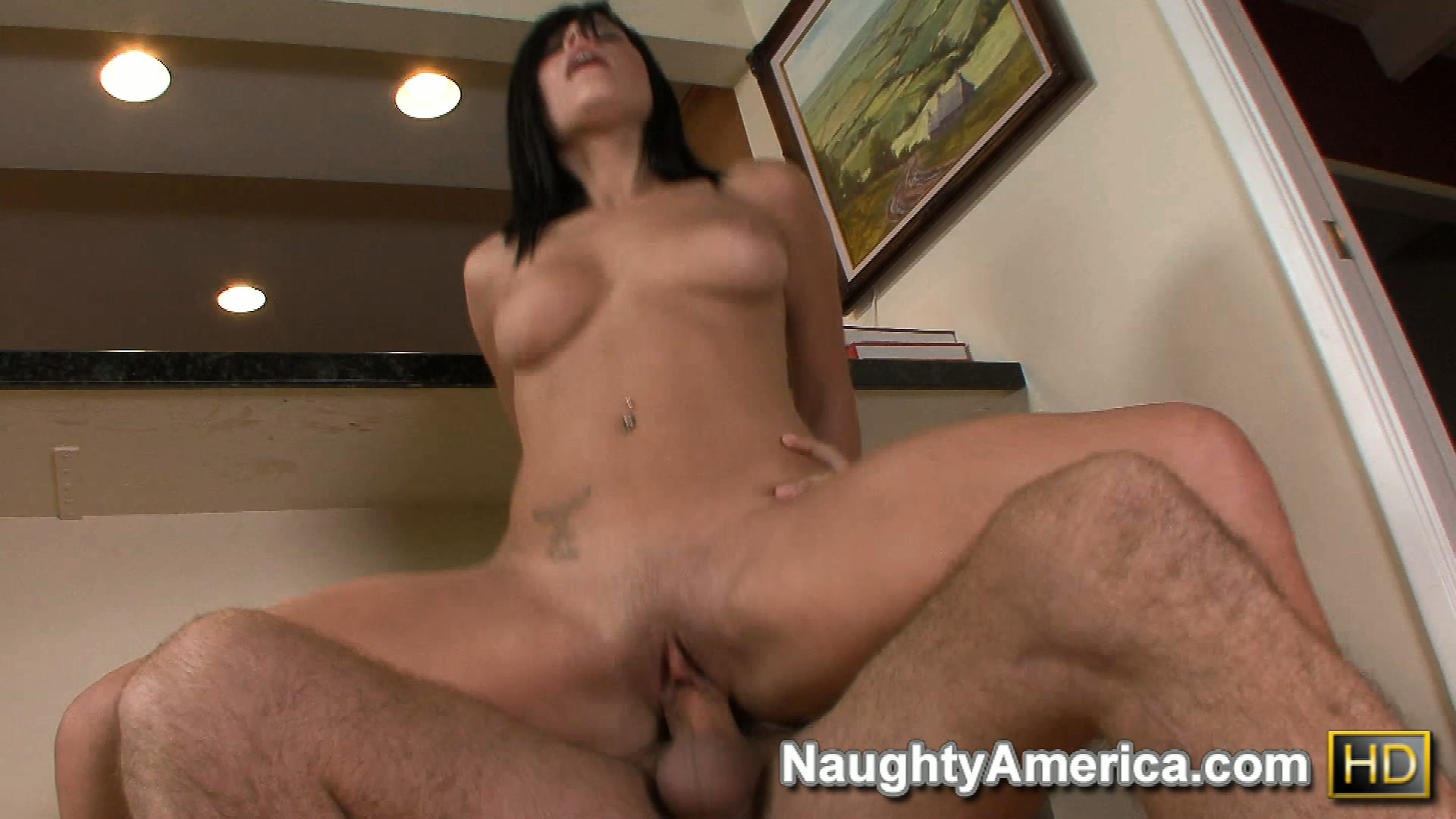 Porn Tube of Hot Brunette Chloe Dash Fucks In The Kitchen And Rides Like A Cowgirl