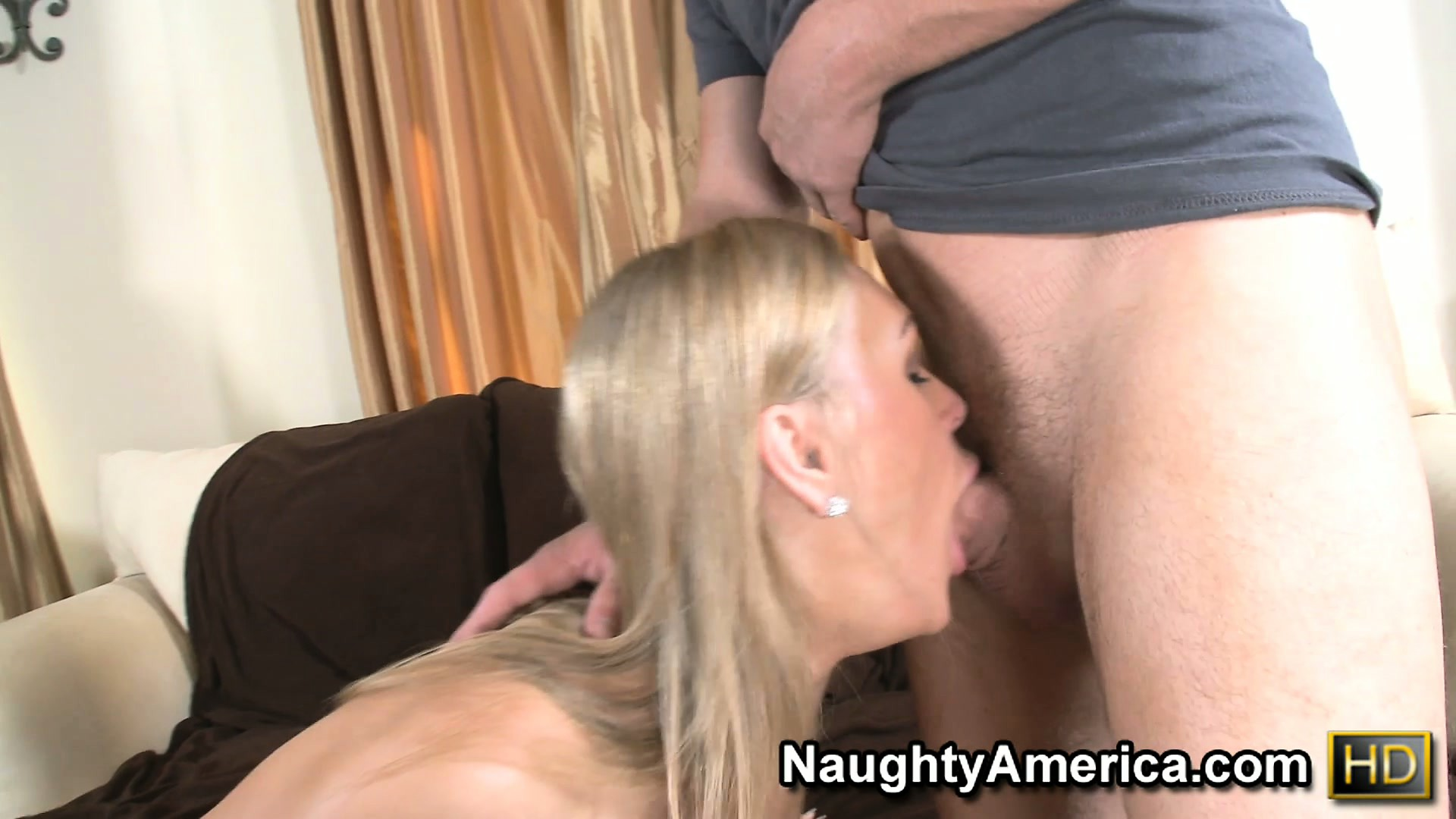 Porn Tube of Blonde Mom Tanya Tate Makes Out On The Couch And Blows His Boner