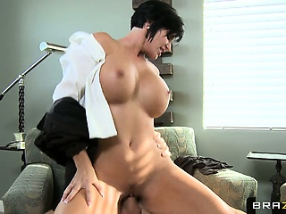 brunette milf with large melons has a large appetite for hard cocks