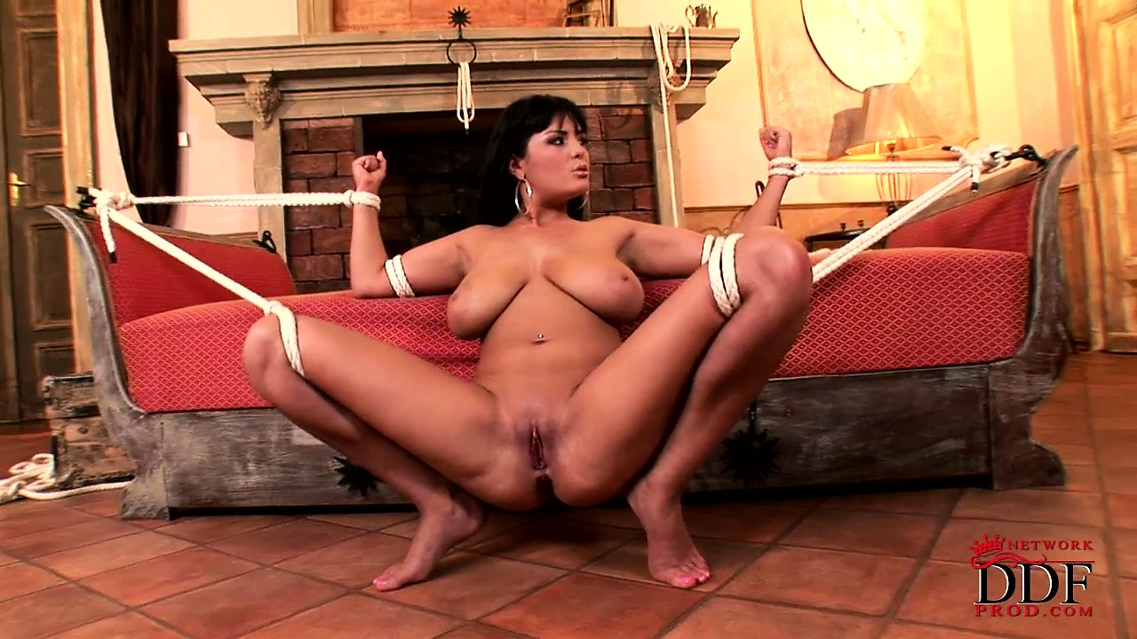 Porn Tube of Busty Brunette Tied Up The Way He Wants To Fuck Her And Dribble In Her Mouth