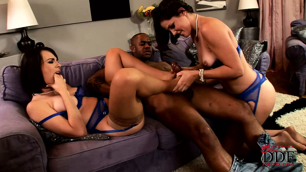 Porn Tube of Two Pairs Of Sexy White Feet Make His Big Black Cock Very Hard
