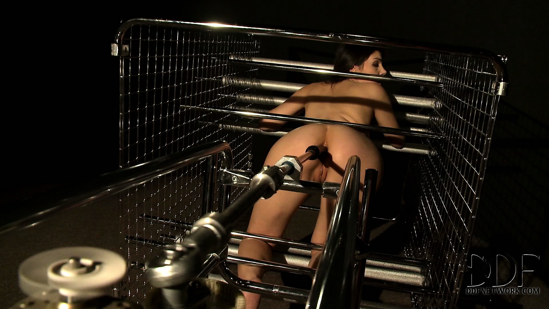 Porn Tube of All Tied Up, The Sexy Brunette Gets Her Tight Holes Drilled Deep By A Fuck Machine