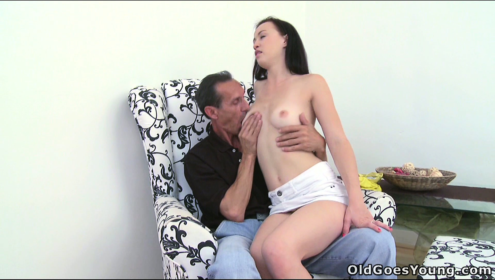 Sex Movie of Teen Sits On A Raunchy Grandpa's Lap And Gets Her Tits Sucked On