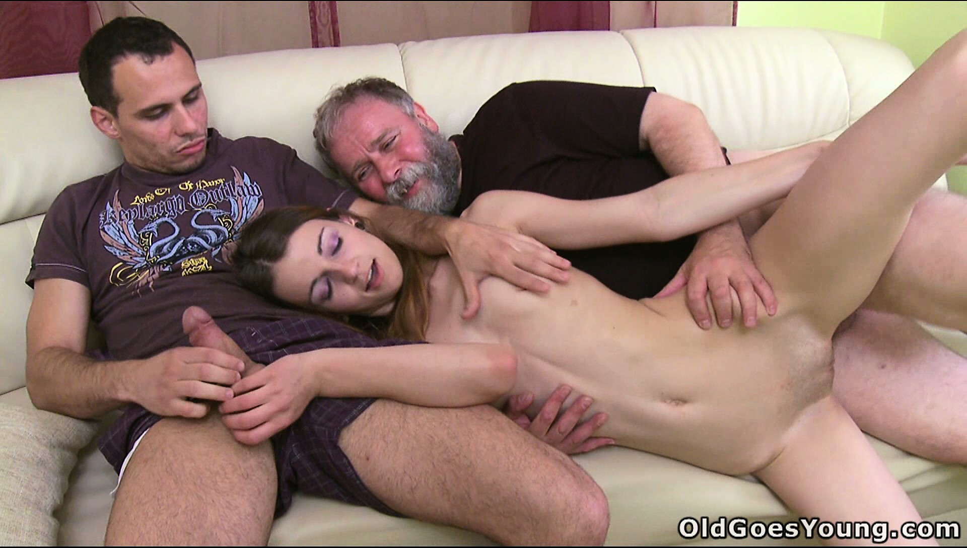 Porn Tube of Tiny Teen Gets Double Teamed By A Bearded Geezer And A Hung Teen