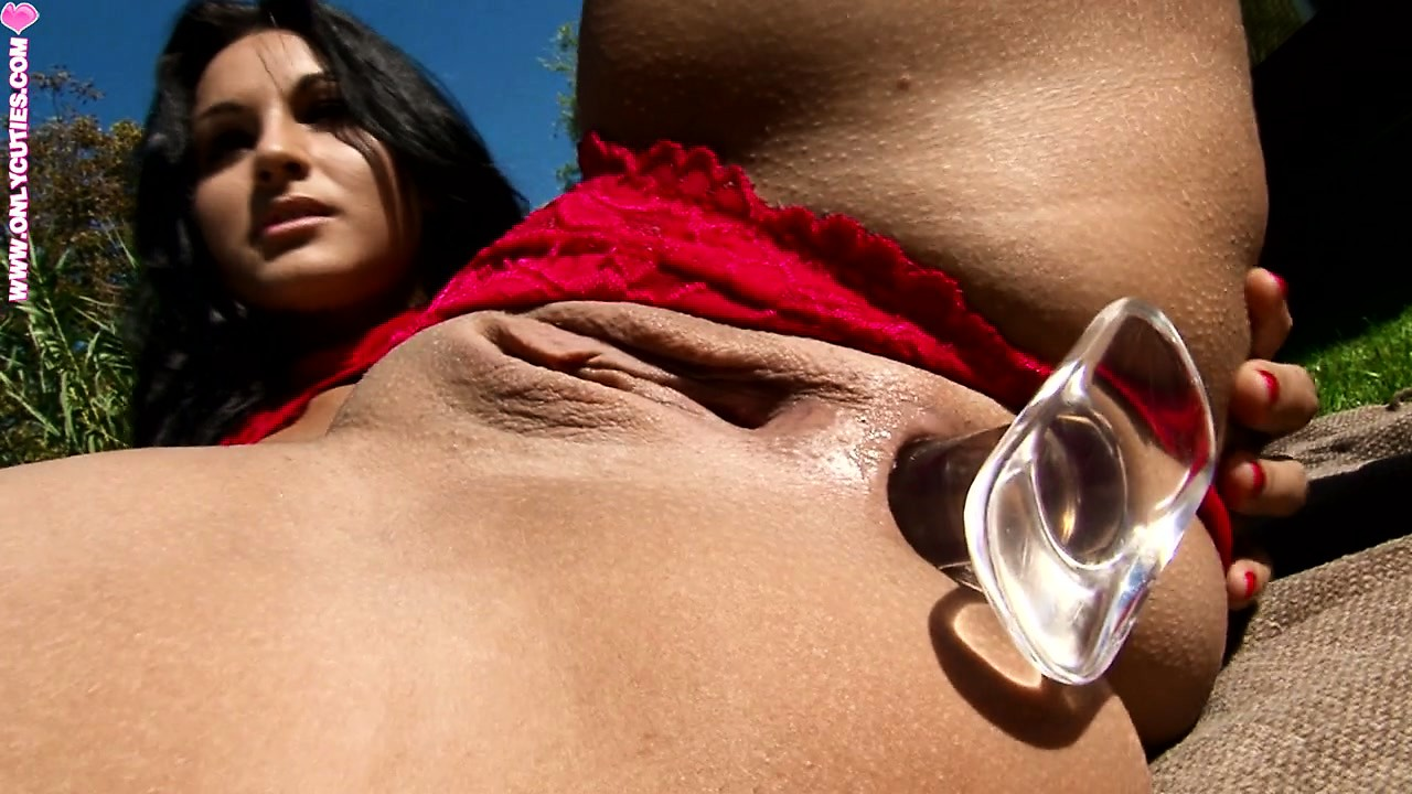 Porn Tube of Marvelous Brunette Pleases Her Tight Holes With A Few Sex Toys, In The Outdoors