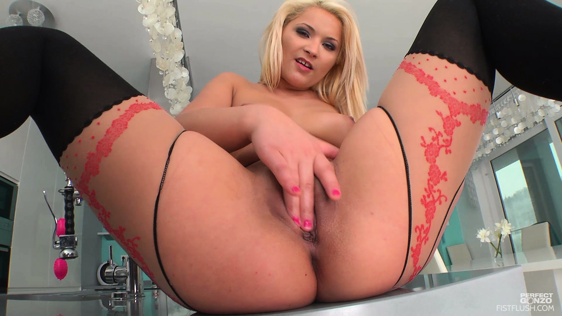 Porn Tube of Lovely Blonde Lana Looks Sexy In Her Slutty Stockings Fisting Herself