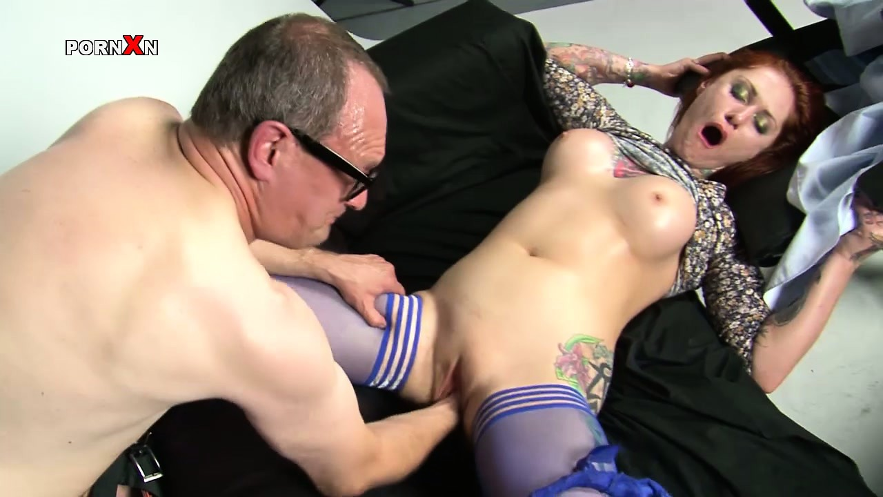 Porn Tube of Woman In Blue Stockings Gets Fingered And Then Fisted Gently