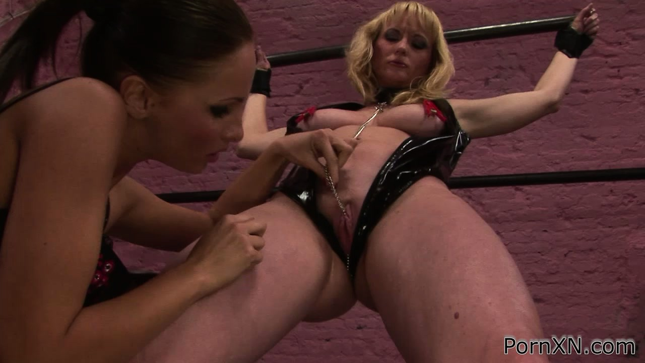 Porn Tube of Submissive Lezzo Gets Her Nips And Pussy Pegged Before Rude Fisting