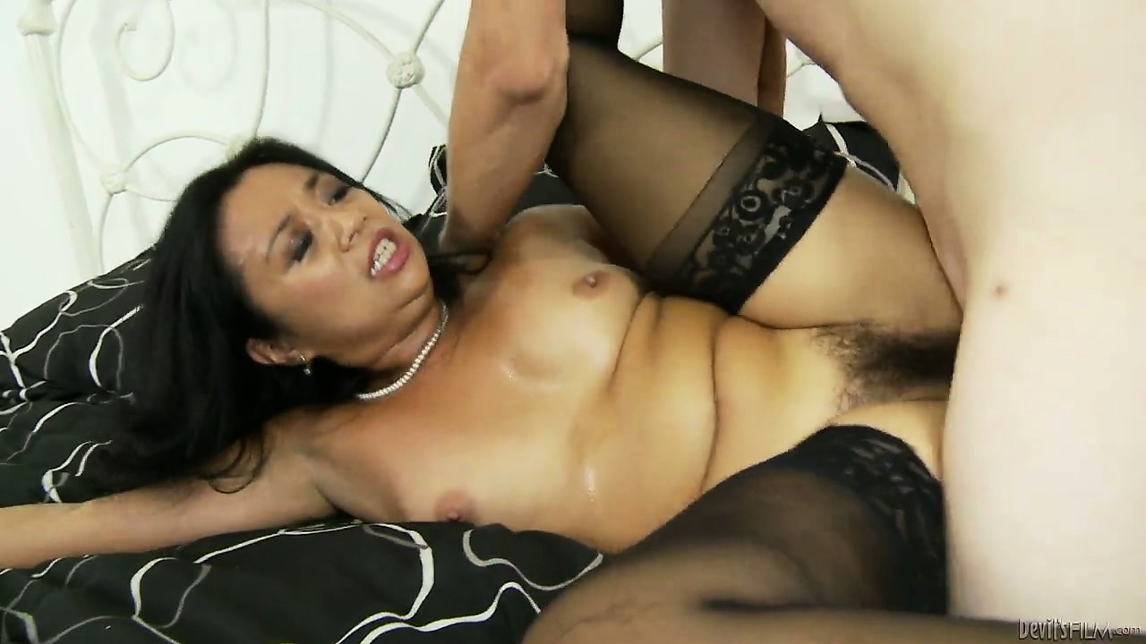 Porn Tube of Cougar With Tiny Tits Gets Her Bushy Cunt Slammed Balls Deep