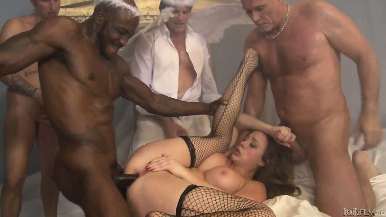 Porno Video of Busty Brunette Gets All Her Holes Ravaged By The Devils Gangbang