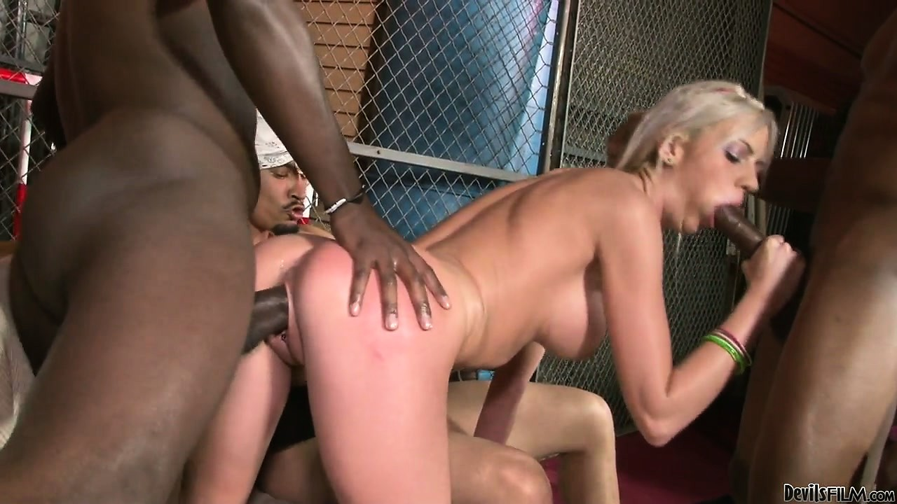 Porn Tube of Skinny Blonde Bitch Gets Nailed In A Big Black Cock Gangbang