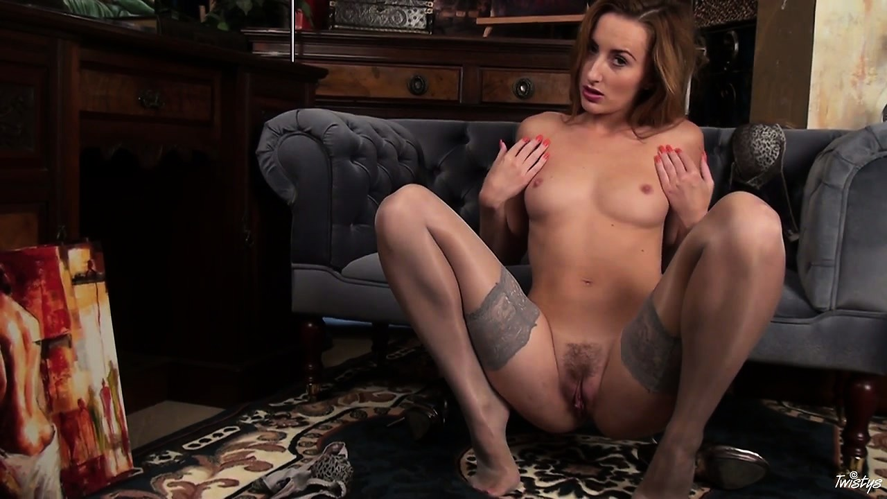 Porn Tube of Pale Blue Silk Stockings Enhance Her Breasts As She Poses Seductively