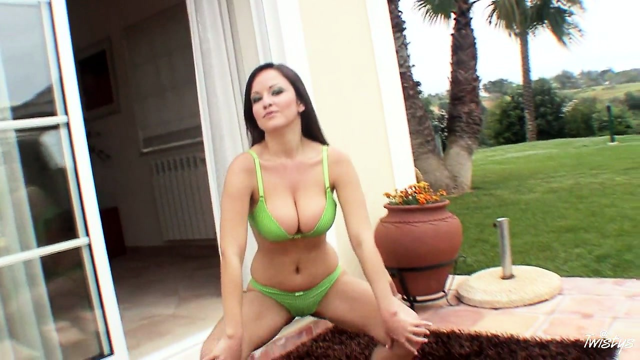 Porn Tube of Her Tiny Green Bikini Can Barely Hold Back The Tits She's Packing