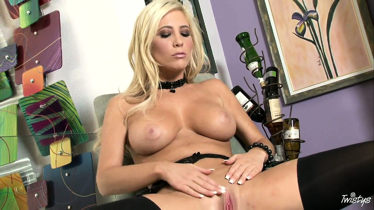 Porn Tube of Black Underwear Matches Perfectly With This Blonde's White Skin And Pink Cunt