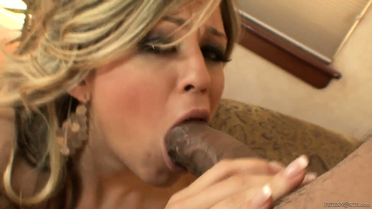 Porn Tube of Sexy Blonde Babe With A Hot Ass Gives A Big Black Cock Blowjob