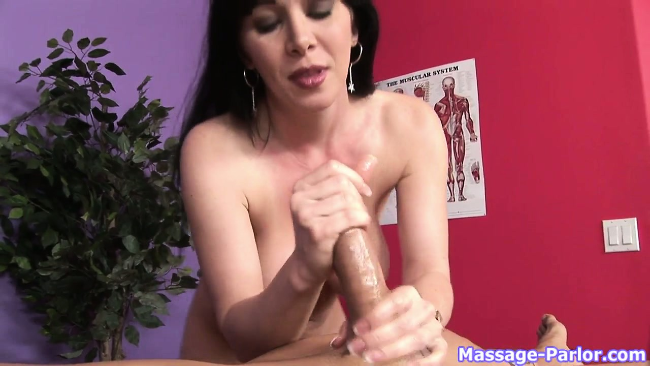 Porn Tube of Milf Brunette Jerks Off And Sucks Cock To The Guy In Top Of The Massage Table