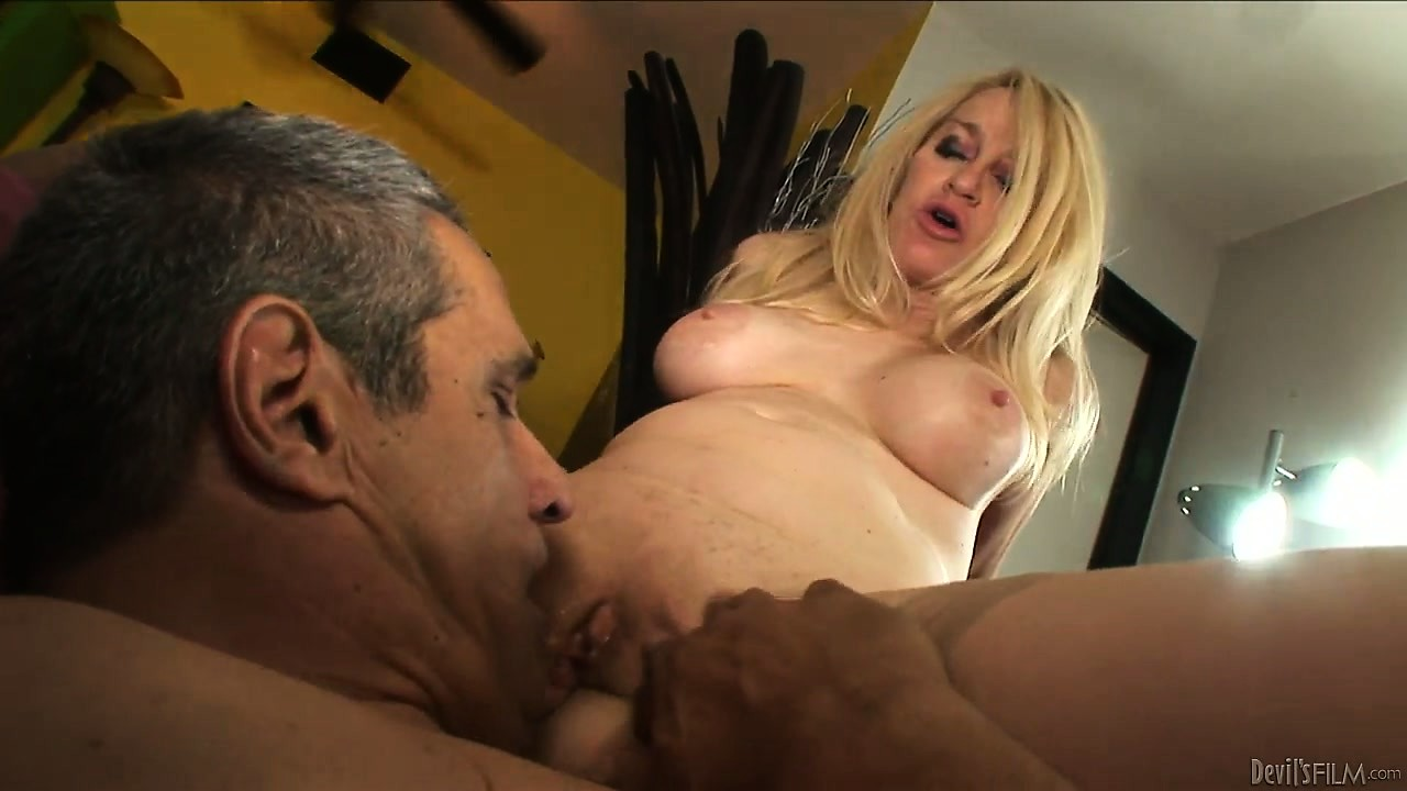 Porn Tube of Blonde Grandma Having Her Pussy Licked But Not Before She Deepthroats That Cock With Her Dirty Mouth