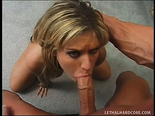 nasty blonde with big tits gets her ass fucked hard and filled with cum