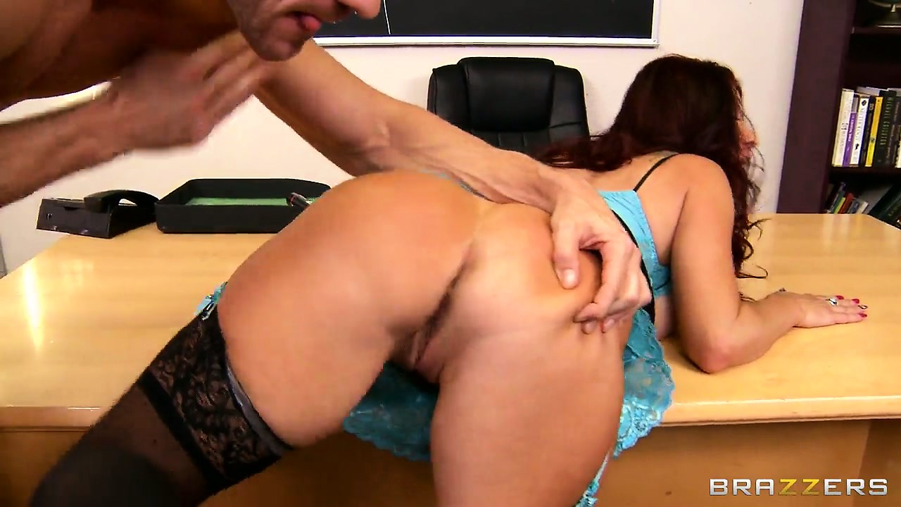 Porno Video of Sexy Brunette Teacher In Stockings Gets Her Cunt Wrecked On A Desk