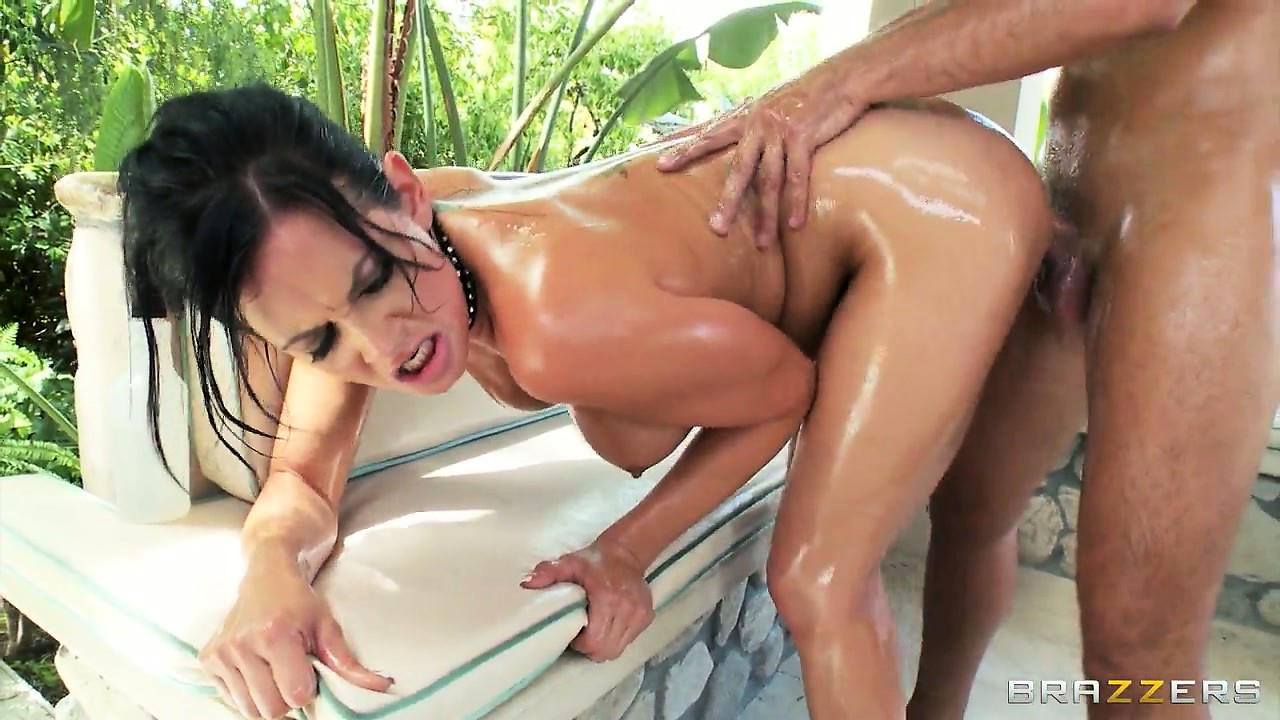 Porn Tube of Slutty Brunette Babe Craves His Cock And Takes It In Her Tight, Oily Asshole