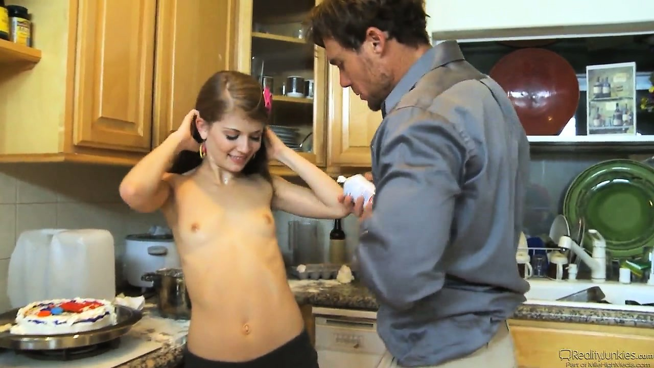 Porn Tube of Hot Brunette Babysitter Gets Dad Hot During A Session Late At Night