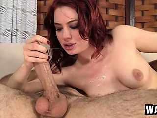 sexy redhead jessica ryan has her lips getting a cock ready for action