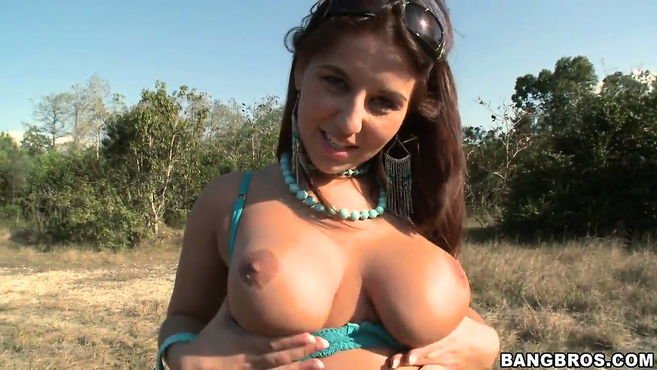 Porn Tube of Busty Brunette Shows Off Her Chunky Butt As She Poses Outside