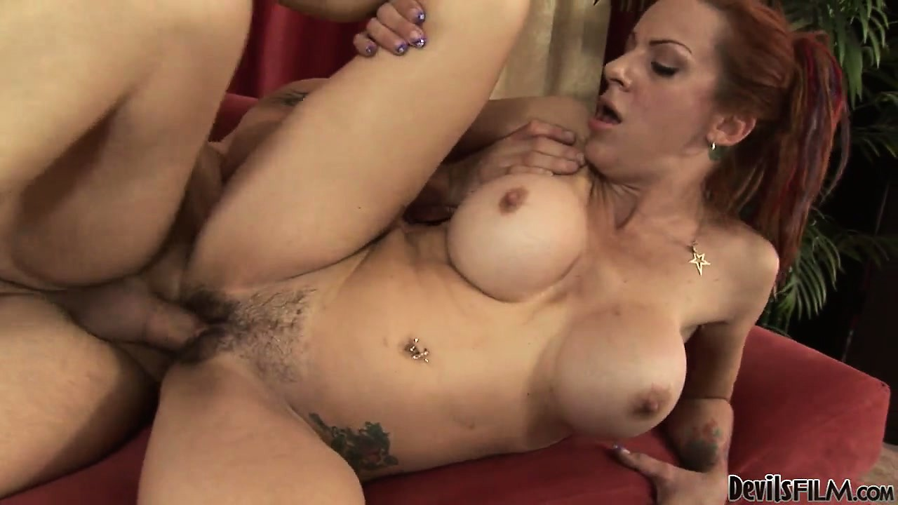 Porno Video of Redheaded Mom Bounces Her Big Silicone Boobies And Gets Drilled In Her Bushy Bush