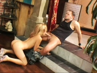 cuddly blonde is sucking outraged cock and gets fucked in different positions